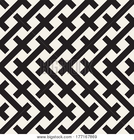 Weave Seamless Pattern. Stylish Repeating Texture. Braiding Background of Intersecting Stripes Lattice. Black and White Geometric Vector Illustration.