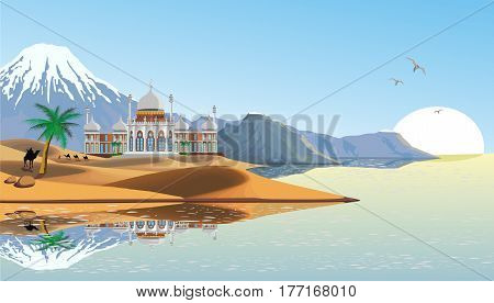 Landscape - the Eastern Palace on the coast. Palace in the desert. The sandy desert. A caravan of camels. Mountain range on the ocean. Vector illustration