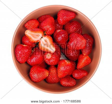 Strawberry in a ceramic plate isolated on whie