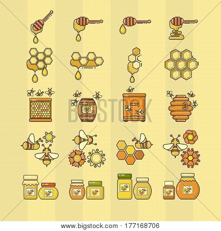 Vector illustration of outline style beekeeping product. Included bee, honey, dipper, honeycomb, beehive and flower.