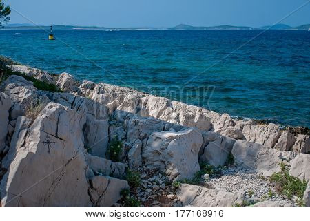 Wind-rose Painted On The Rocks, Adriatic Sea, Croatia, Vrgada Island