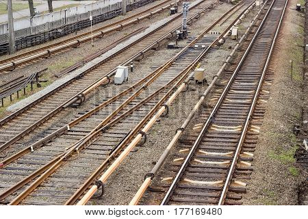 Fragment of the several rail tracks of the metro and other railway equipment on the the overground part of subway line