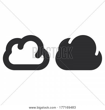 Cloud thick line and solid icon outline and filled vector sign linear and full pictogram isolated on white. Symbol logo illustration