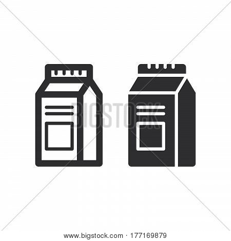 Milk Or Juice Carton Box Pack line and solid icon outline and filled vector sign linear and full pictogram isolated on white. Symbol logo illustration