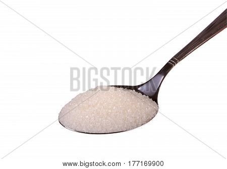 Granulated sugar in a spoon isolated on the white