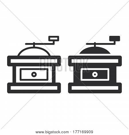 Manual Hand Coffee Mill Grinder line and solid icon outline and filled vector sign linear and full pictogram isolated on white. Symbol logo illustration