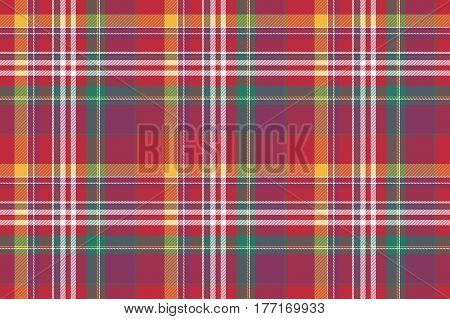 Check colored plaid madras seamless background. Vector illustration.