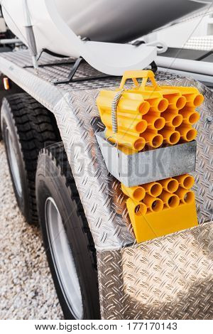 Rear bumper of construction machine with accessories