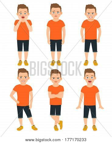 Boys different emotions vector illustration. Shocked and wonder standing kid, surprised and unhappy boy expressions isolated on white background