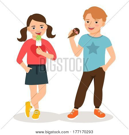 Cartoon children eating ice cream vector illustration. Cute boy and girl with sweet icecream cones isolated on white background