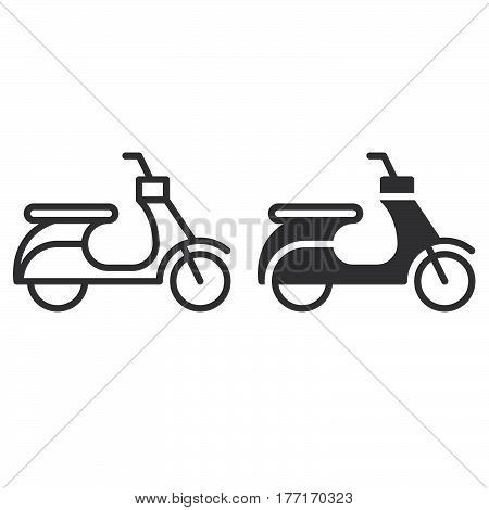 Scooter line and solid icon outline and filled vector sign linear and full pictogram isolated on white. Moped symbol logo illustration