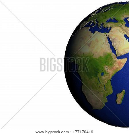 Africa On Model Of Earth With Embossed Land