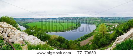 View of the Dniester reservoir landscape horizontal photo.