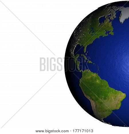 Americas On Model Of Earth With Embossed Land