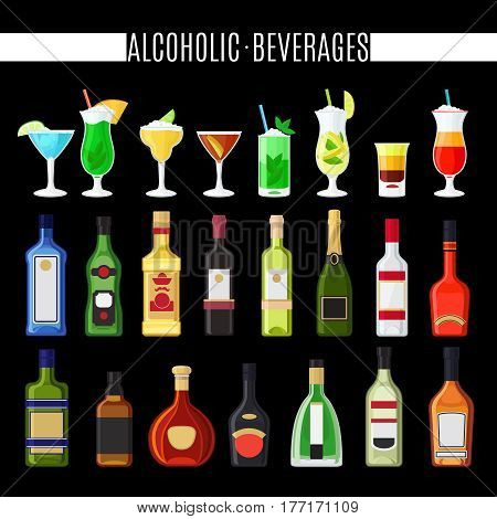 Alcoholic beverages icons set on black background. Cocktails and bottles vector icons