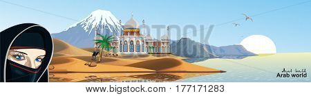 Panorama - East Palace on the coast. Palace in the desert. The sandy desert. A caravan of camels. Mountain range on the ocean. Vector illustration