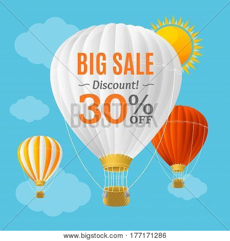 Big Sale Summer Concept Banner Card or Poster with Hot Air Balloon. Vector illustration