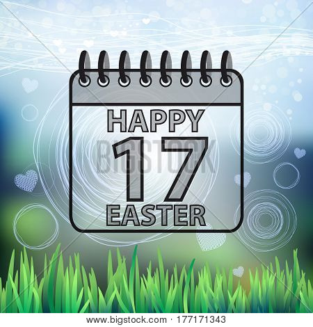 Background Spring Easter Happy Calendar Seventeenth