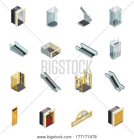 Elevator lift escalator isometric icons set with moving staircases elevator cabins and elements of different shape vector illustration