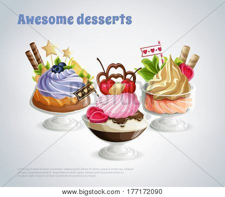 Composition with awesome desserts in glass bowls decorated nuts berries and candies on grey background vector illustration