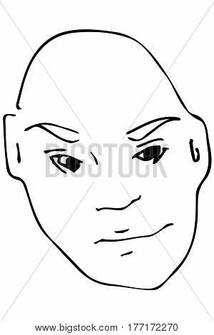 Vector Sketch Of The Face Of The Adult Bald Man.