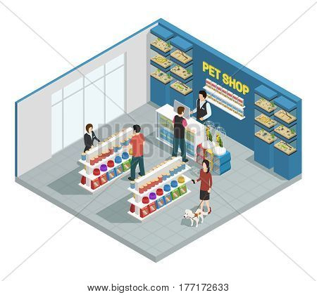Pet shop composition with customers goods and pets isometric vector illustration