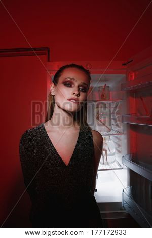 Vertical photo of sensual young woman in dress which looking at camera while sitting near the fridge. Conceptual image