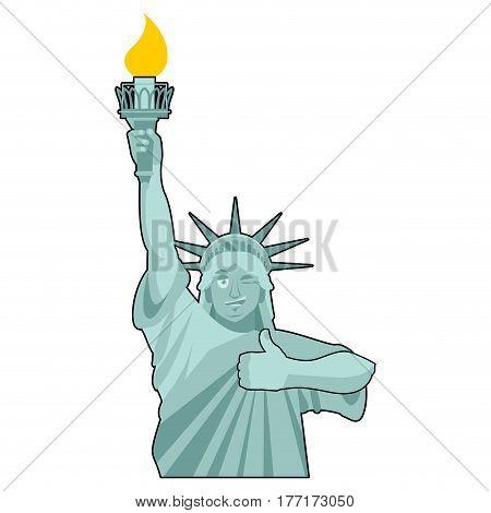 Statue Of Liberty Winks. Thumbs Up Landmark  America. Sculpture Architecture Usa