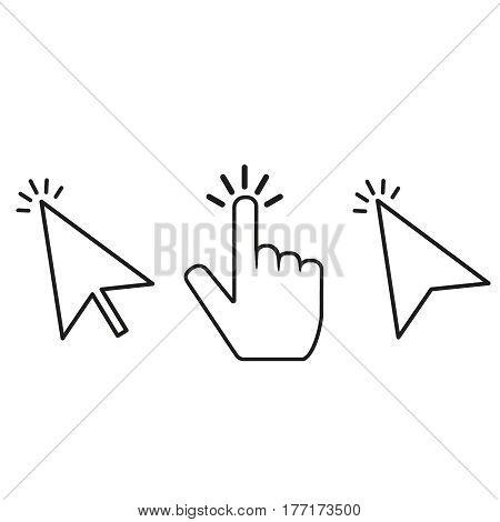 click cursor vector set Mouse cursores with click lines