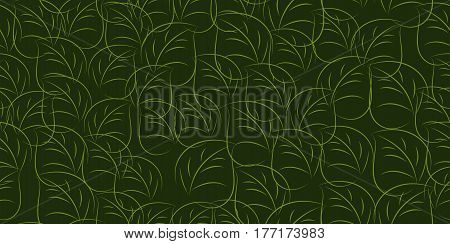 Green leaves seamless tileable background. Vector illustration.