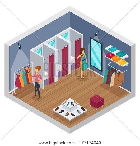 Colored trying shop isometric interior with walls and store with fitting rooms vector illustration
