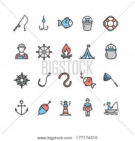 Fishing Sport and Leisure Color Icon Thin Line Set for Web Design. Vector illustration
