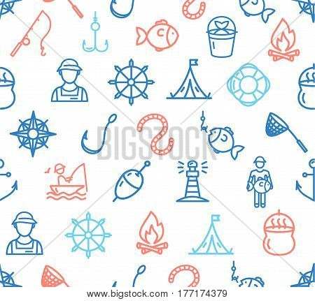 Fishing Sport and Leisure Color Pattern Background Element Style Design for Web. Vector illustration