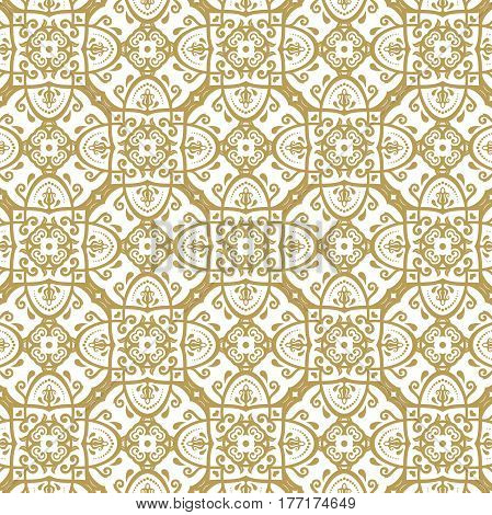 Seamless baroque golden pattern. Traditional classic orient ornament