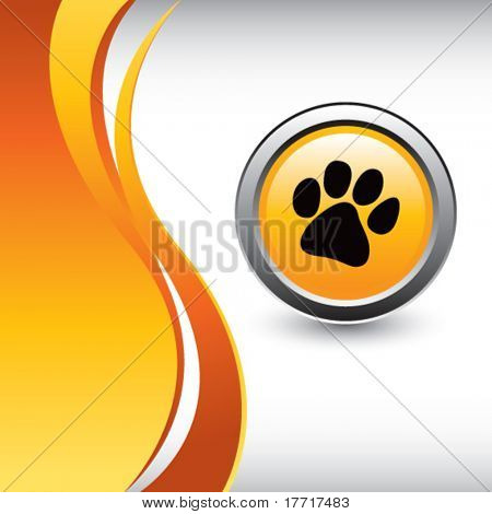 paw print vertical orange wave background