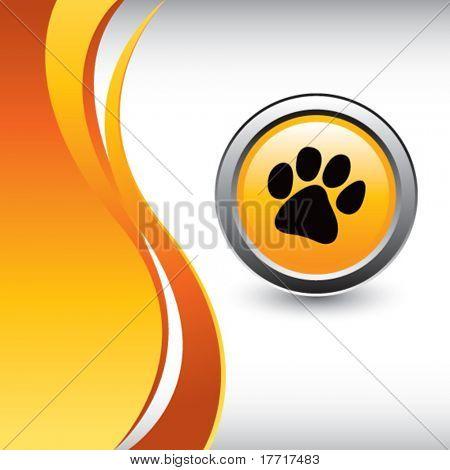 paw print vertical orange wave background