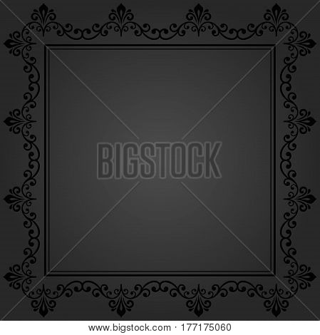 Classic dark square frame with arabesques and orient elements. Abstract fine ornament with place for text