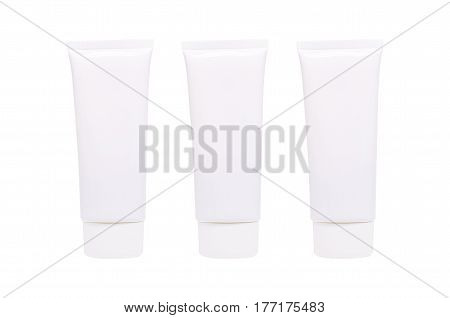 Blank White cosmetic tube pack of Cream Or Gel. Ready for your package design. isolated on white background realistic photo image with clipping path