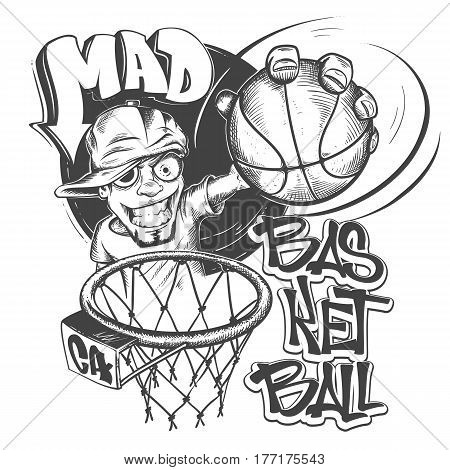 Mad basketball slam t-shirt print design vector illustration