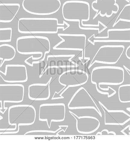 Frame, cloud, arrow, seamless background, grey, vector.  White line arrows and clouds on grey background. Plain, flat background.