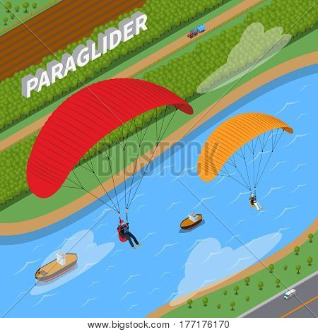 Flight on paraglider over river with boats and road with transportation in summertime isometric vector illustration