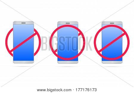 No mobile phones 3d illustration with realistic mobile phone