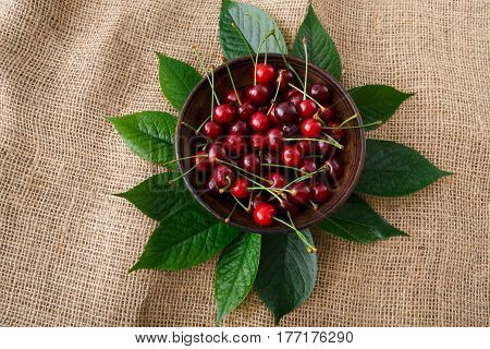 Sweet fresh cherries in a bowl with green leaves on sack cloth, fruit backround. Healthy food top view at hessian textile.