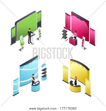Isometric compositions with people and exhibition stands in various colors including banners and shelves isolated vector illustration
