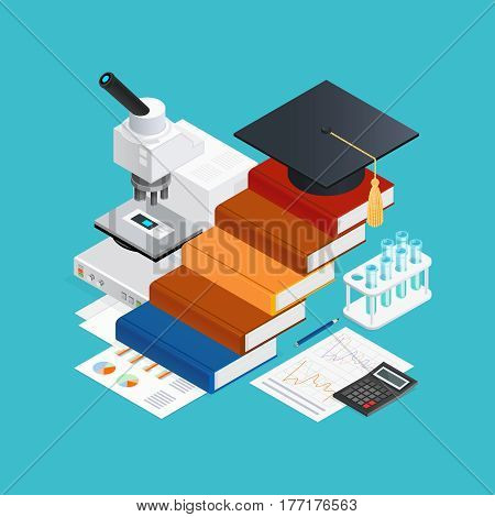 Learning isometric design concept with stairs from books academic hat educational accessories on blue background vector illustration