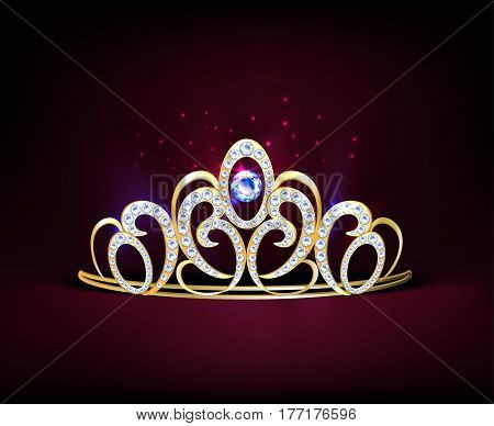 Colored golden realistic diadem composition with diamonds and big gemstone in center vector illustration