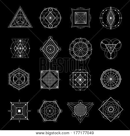 Sacred geometry white elements and symbols set isolated on black background flat vector illustration
