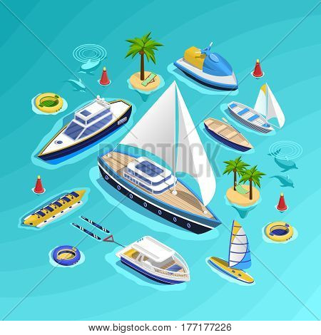 Sea tourism conceptual composition with set of water carriage vehicles inflatable boats water rides and palm islands vector illustration