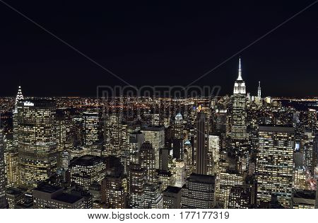 A night view of the New York City.