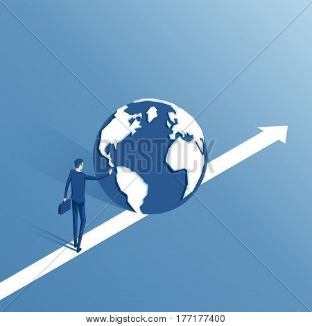 Businessman pushing planet earth forward isometric illustration. Employee rolls the world forward. Business concept global economic growth